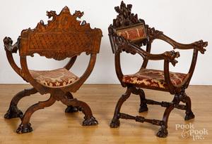 Pair of German carved cerule chairs