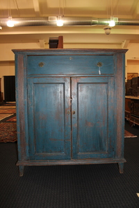 Painted pine jelly cupboard, 19th c.