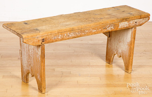 Small mortised pine bench, 19th c.