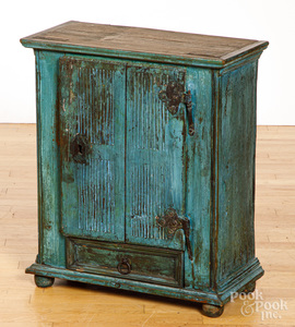 Continental painted pine cupboard, 19th c.