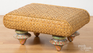 Woven hassock and ceramic foot ottoman