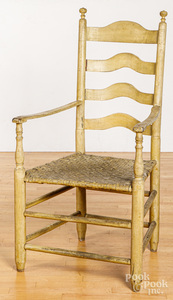 Large painted ladderback armchair, late 18th c.