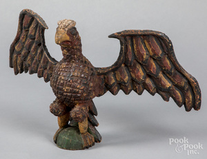 Carved and painted spread winged eagle