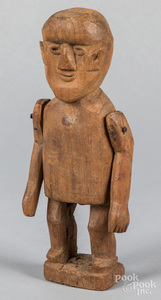 Carved walnut figure, 19th c.