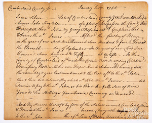 George Ross signed legal writ, dated 1750.