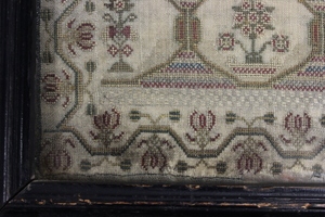 English silk on linen sampler, dated 1789.
