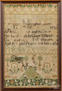 Three silk on linen samplers, 19th c.
