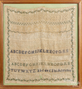 Two silk on linen samplers, 19th c.