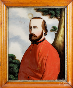 Oil on panel folk portrait.
