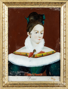 Five reverse painted portraits on glass, 19th c.