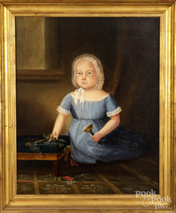Oil on canvas portrait of a child with a rattle.
