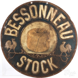 Painted tin Bessonneau Stock trade sign.