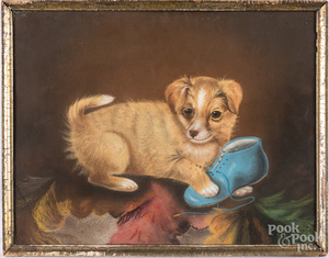 Three pastels of puppies, late 19th c.