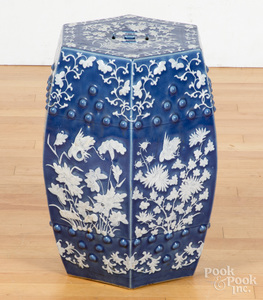 Chinese blue and white porcelain garden seat.