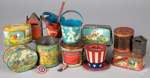 Group of tin lithograph pails, etc.