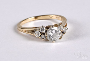 Baume 14k gold and diamond ring, size 6