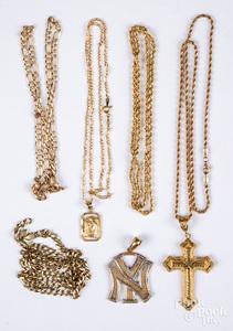 10K gold necklaces, 27.6 dwt.