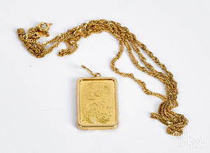 21K gold necklace, 3.4 dwt.