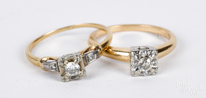 Two 14K gold and diamond rings, 2.8 dwt.