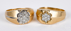 Two 14K gold diamond cluster rings, 9.3 dwt.