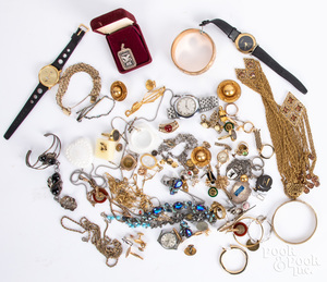 Costume and silver jewelry, wristwatches, etc.