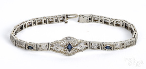 14K gold diamond and gemstone bracelet, 5.6 dwt.