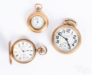 Three Waltham pocket watches.
