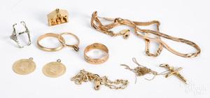 14K gold jewelry, 19.3 dwt.
