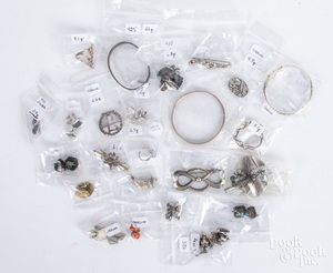 Collection of sterling silver jewelry.