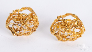 Pair of 14K gold and diamond earrings, 12 dwt.
