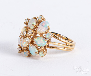 14K gold opal and diamond ring, size 4, 2.8 dwt.