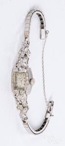 Hamilton platinum and diamond ladies wristwatch
