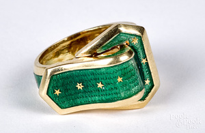 14K gold and enamel buckle ring, size 5, 5.3 dwt.