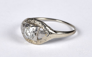 14K gold diamond solitaire ring, size 7, 1 dwt.