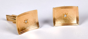 Pair of 14K gold and diamond cuff links, 5.2 dwt.