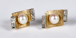 Pair of 14K gold diamond and pearl earrings, 5 dwt.