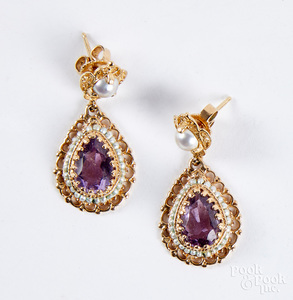 Pair of 14K gold, pearl and amethyst earrings