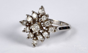 14K white gold diamond cluster ring, size 6
