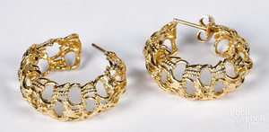Pair of 14K gold earrings, 5.1 dwt.