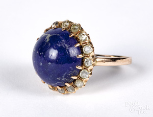 14K gold diamond and lapis ring, size 6 1/2