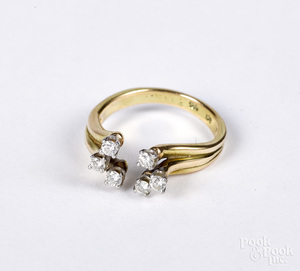 14K gold and diamond ring, size 7