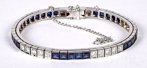 14K white gold diamond and gemstone bracelet