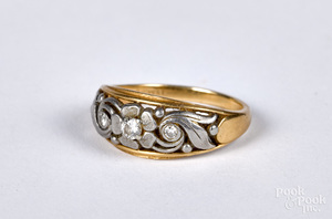 14K gold and diamond ring, size 6 1/2