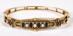 14K gold diamond and onyx bracelet, 13 dwt.