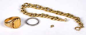 18K gold ring and bracelet, 15.4 dwt.