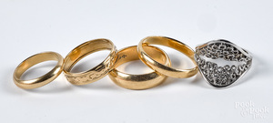 Five 14K gold rings, 14.5 dwt.