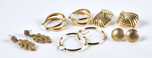 Five pairs of 14K gold earrings, 13.4 dwt.