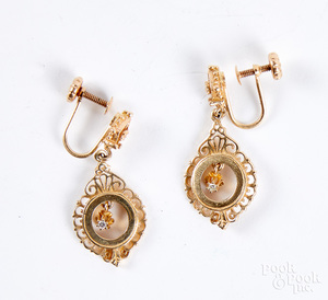 14K gold and diamond earrings