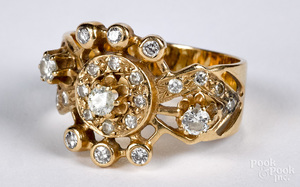 14K gold and diamond cluster ring