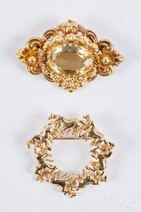 14K gold horse brooch, etc.